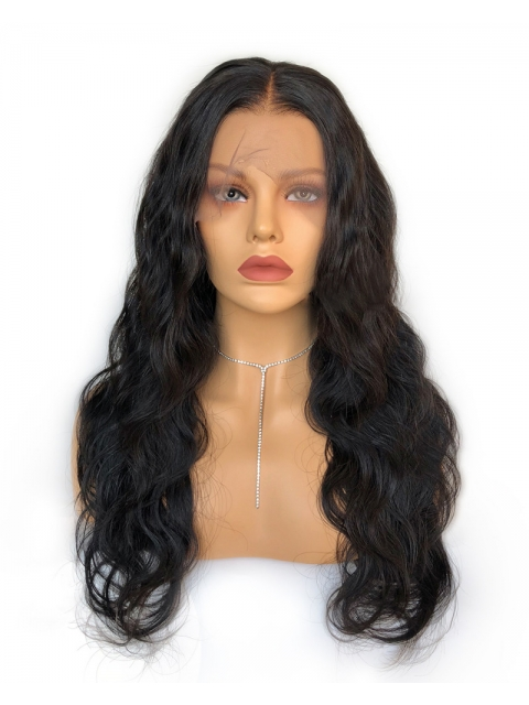 Indian virgin preplucked 6 inches deep parting lace front human hair body wave wavy wig