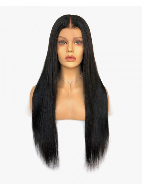 Indian virgin preplucked 6 inches deep parting lace front human long straight hair