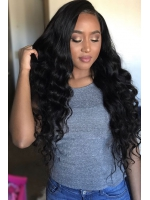 24 inches Indian remy wavy lace front human hair wig - LFW068