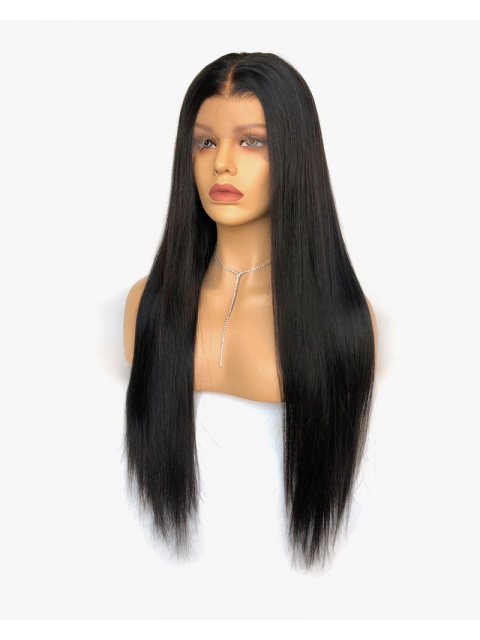 Preplucked Indian virgin 360 lace frontal human long straight hair wig