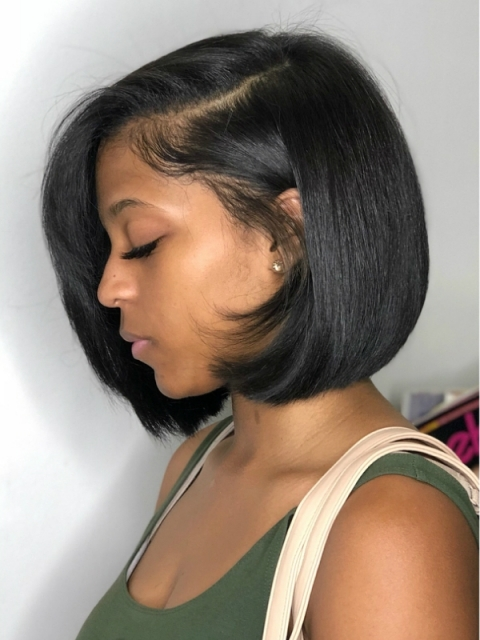 Indian remy 360 lace frontal light yaki bob wig