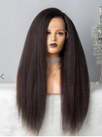 Invisible HD skin melt swiss lace kinky straight human hair full lace wig