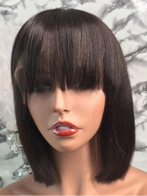 Easy affordable short human hair wig with bang