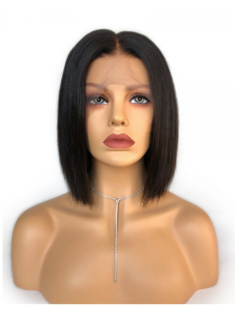 Easy affordable one length human hair wig