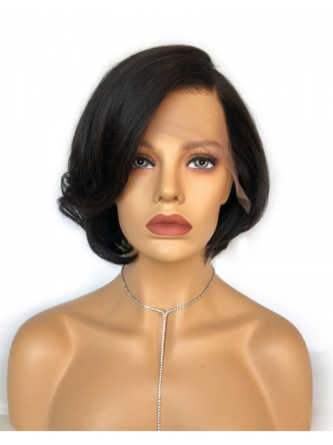 Easy & affordable 8 inches short side part human hair wig