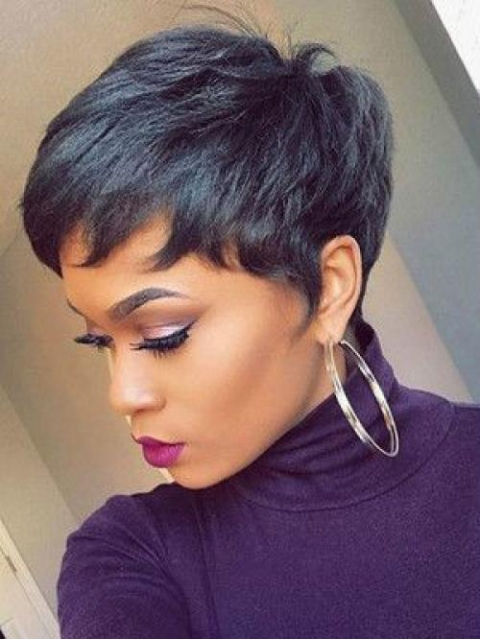 Easy affordable short pixie cut human hair wig