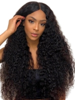 Pre-made Fake Scalp Indian Virgin Front Lace Human Hair Curly Wig