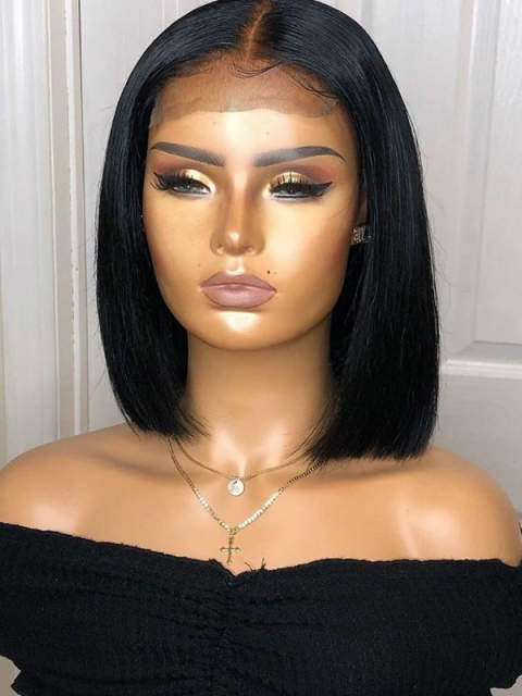 Easy affordable 12 inch middle part human hair wig