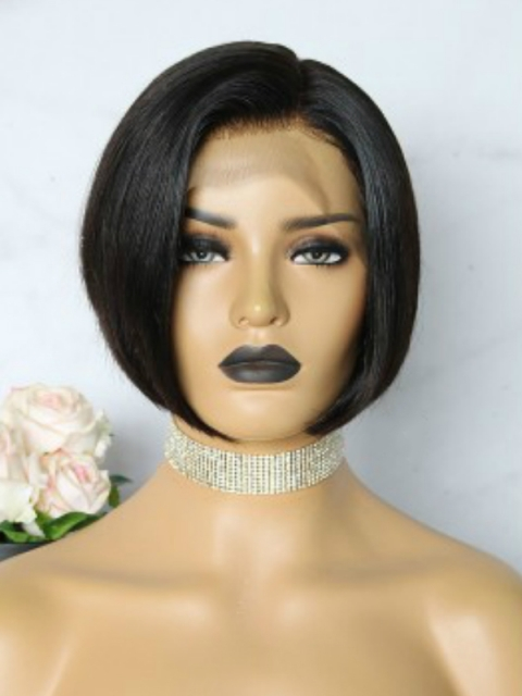 Easy affordable 8 inches short side part human hair wig