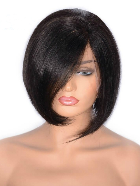 Easy affordable 8 inches short side part human hair with bang