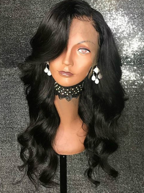 Invisible HD skin melt swiss lace 6 inches deep parting straight human hair lace front wig with wand curls