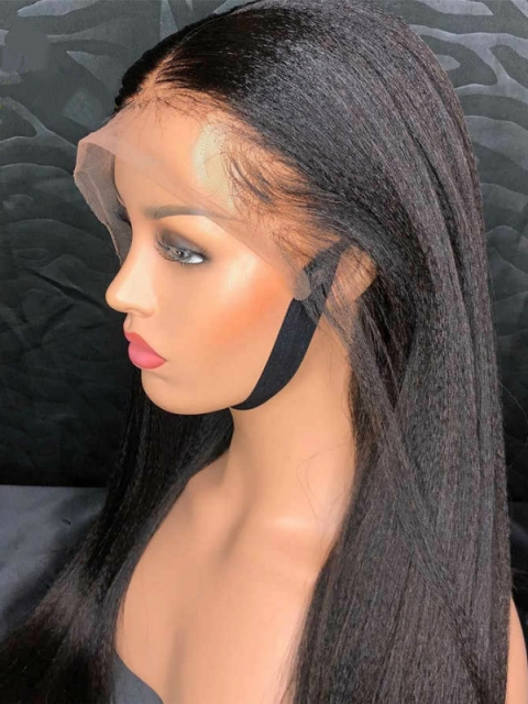 Invisible HD skin melt swiss lace 6 inches light yaki straight human hair lace front wig