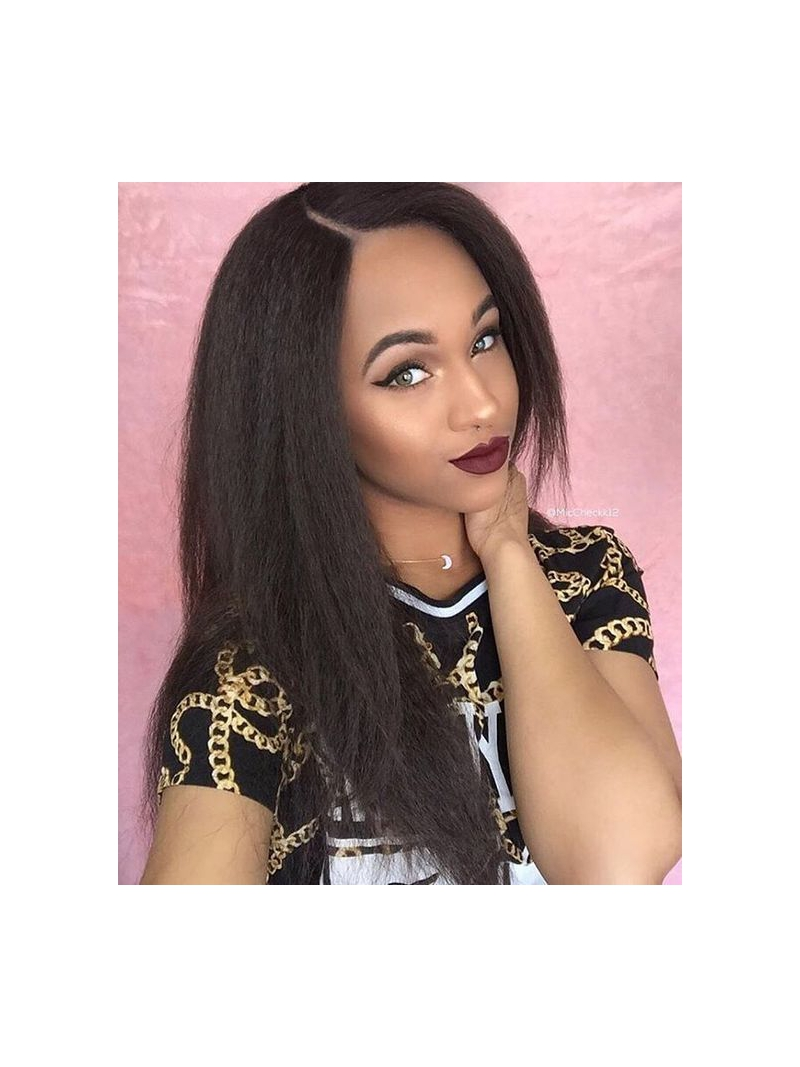 18 Inches Kinky Straight Full Lace Human Hair Wig Ks001