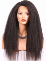 18 inches kinky straight full lace human hair wig - KS001