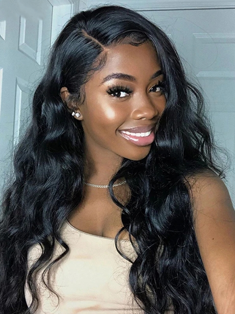 Water Wave Human Hair Lace Front Wigs For Black Women-LFB706