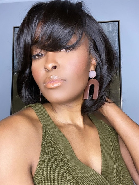 Short Hair With Bang Human Hair Lace Front Wigs For Black Women With Wand Curls-LFB721