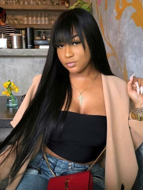 Long Straight Natural Color Lace Frontal Wig with Bangs-LFB891