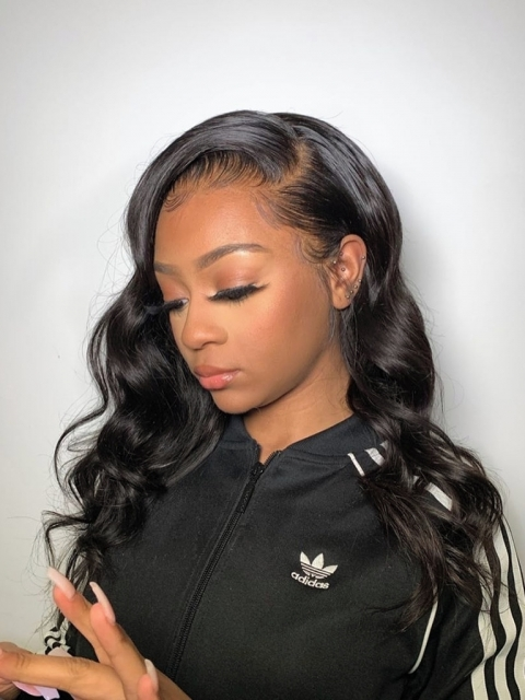 Free Parting Natural Hairline Long Wavy Lace Frontal Wig-LFW909