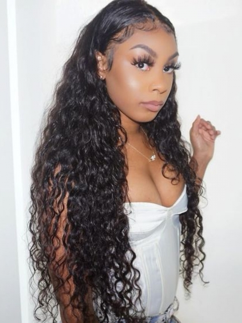 Long Curly Human Hair Natural Lace Frontal Wig-LFW919