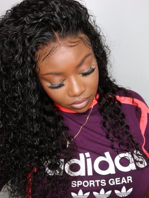 Natural Color Melting Hairline Curly Lace Frontal Wig-LFW949