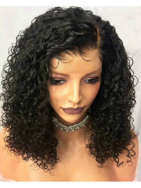 14 inches 180% density indian remy human hair curly bob-WE007
