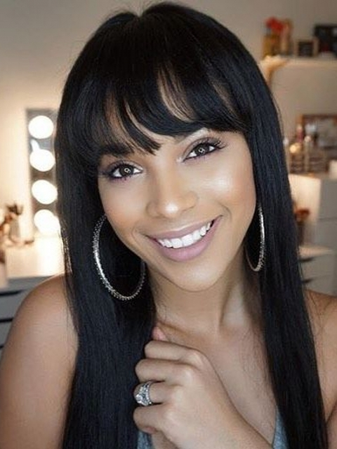 Silky Straight Natural Black Lace Front Wig with Bangs-LW054