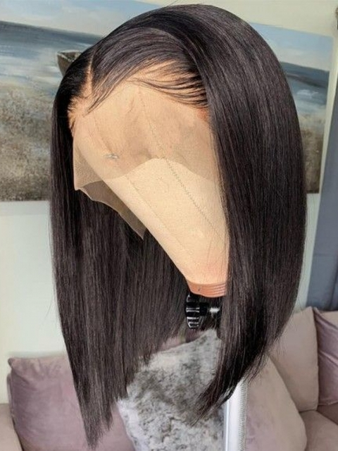 10-18 inches Silky Texture Natural Color Lace Front Bob-LW080