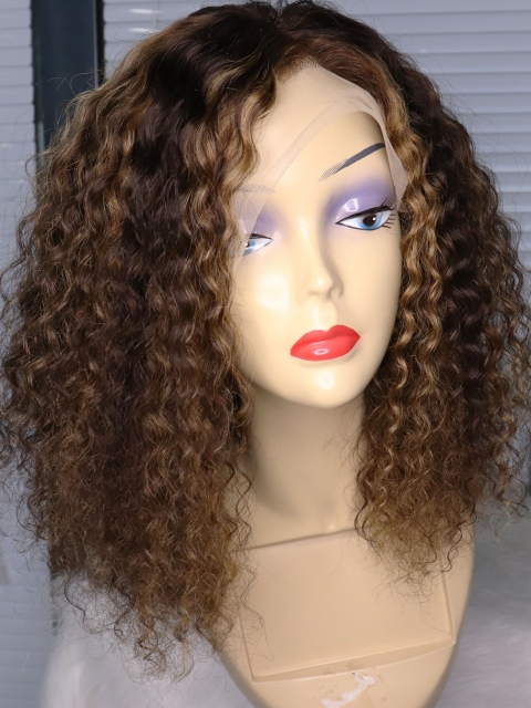 CURLY HUMAN HAIR LACE FRONT WIG WITH BLONDE HIGHLIGHTS PERFECT FOR EVERYDAY SLAY-CL001