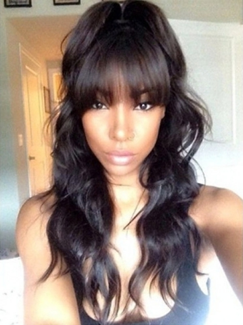 10-22 inches indian remy wavy 6' parting space lace front human hair wig with bangs