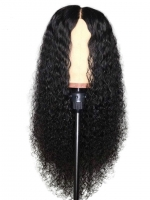 22 inches indian remy curly 6' parting space lace front human hair wig- WE021
