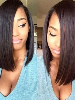 Indian remy shoulder length  full lace human hair sleek bob - BOB068
