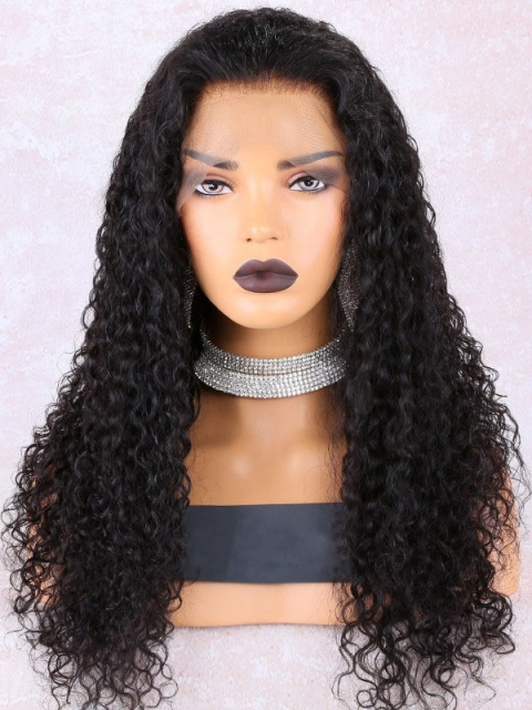 New Natural Black Water Wavy Lace Front Wig-LW137