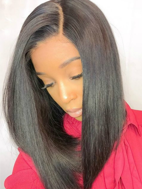 10-22 Inches one length indian remy 6' parting space lace front wig bob