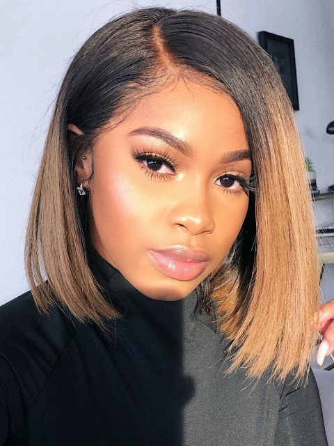 Best Summer Color Brown Ombre Short Bob Lace Front Wig-CL011