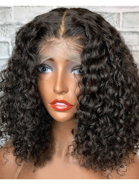 New 5×5 Invisible HD Lace Water Wave Human Hair Closure Wig-HDC003