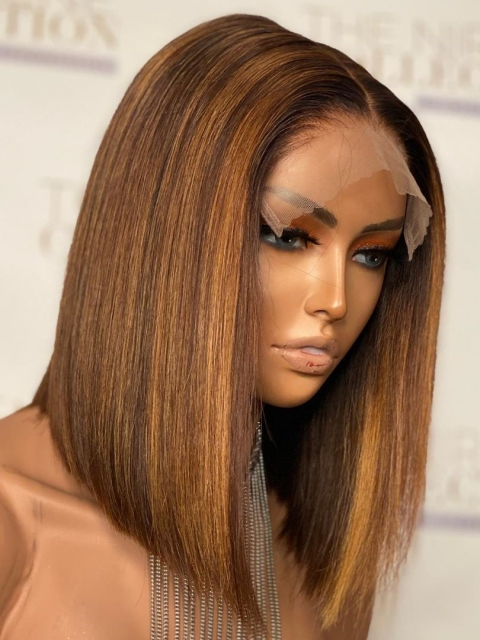 New Brown Ombre Summer Color Short Bob Lace Front Wig-CL014