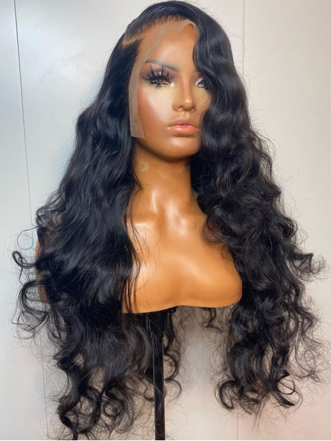10-22 inches Human Hair Natural Black Body Wave Lace Front Wig-LW144