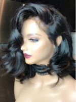 14 Inches 180% density indian remy wavy 360 lace frontal human hair wig-WE070