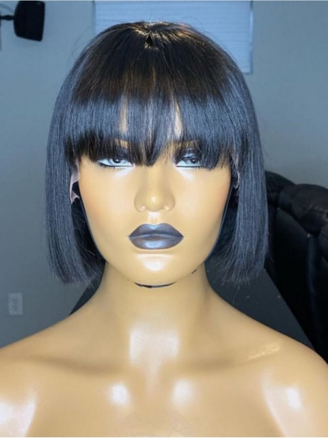 Straight Bob Human Hair Lace Frontal Wig with Bangs-LW153