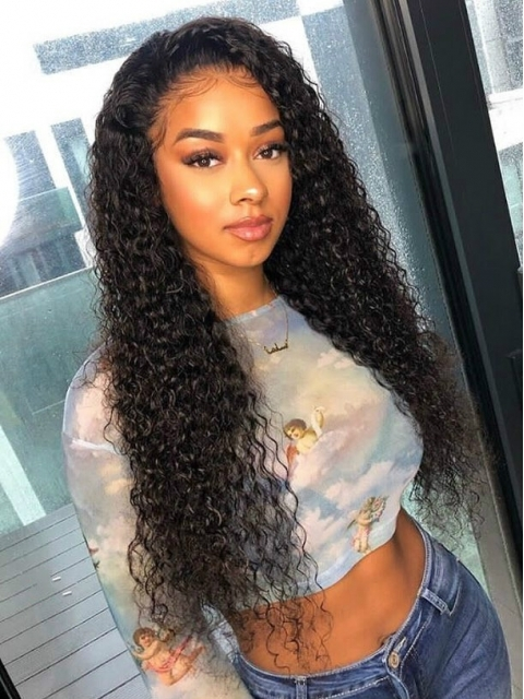 10-22 inches indian remy curly full lace human hair wig-FWC002