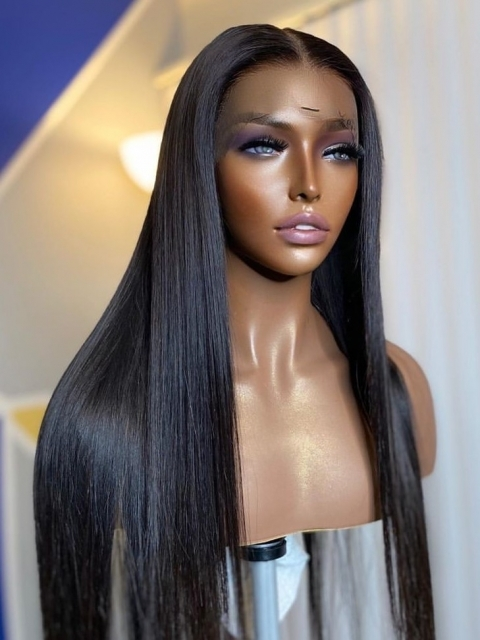 10-22 inches Human Hair Natural Black Silky Straight Full Lace Wig-SFL001