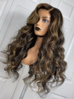 Brown Highlight Natural Human Hair Full Lace Wig With Wand Curls-FWC006