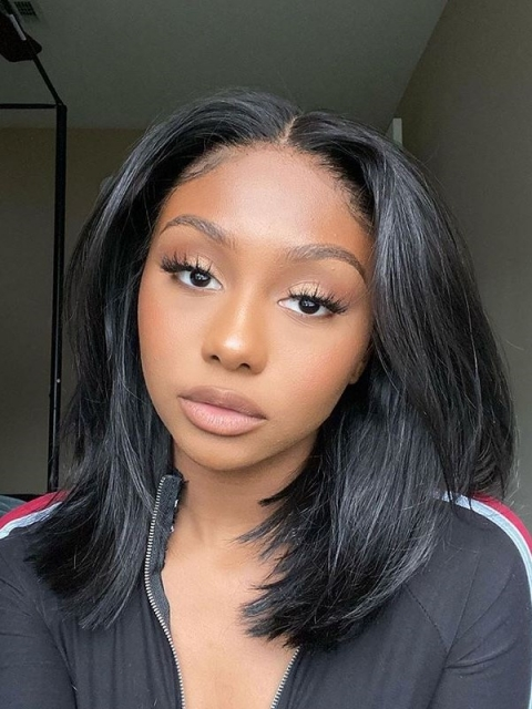 Straight Bob Natural Color Lace Frontal Wig-LW158