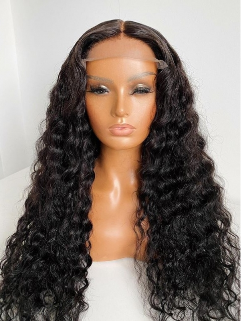 New 5×5 Invisible HD Lace Water Wave Human Hair Closure Wig-SWC011