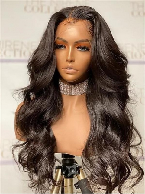 Invisible HD skin melt swiss lace 6 inches deep parting straight human hair lace front wig with wand curls-SWL111
