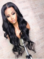 Invisible HD skin melt swiss lace 6 inches deep parting wavy human hair lace front wig-SWL112