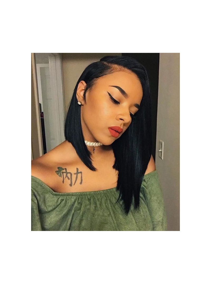 Indian Remy Deep Side Part Full Lace Human Hair Bob