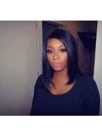 Indian remy deep side part full lace human hair bob - BOB086