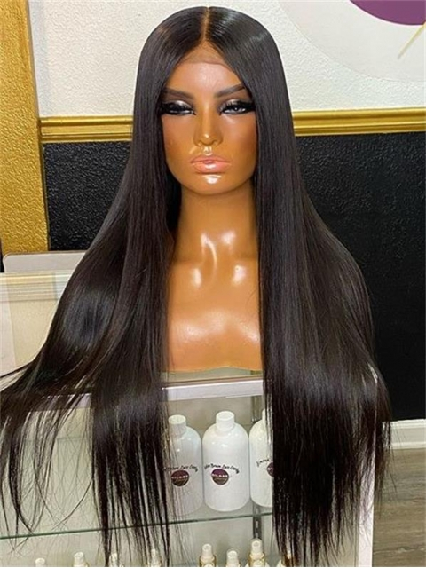 Invisible HD skin melt swiss lace 6 inches deep parting straight human hair lace front wig- SWL114
