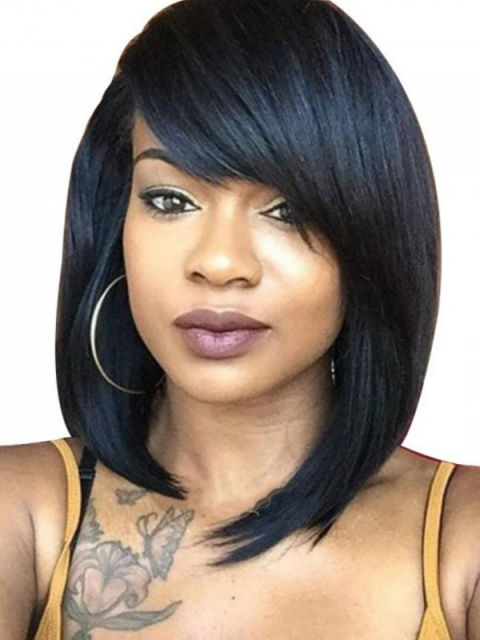 12 Inches 180% density indian remy straight with bang 360 lace frontal human hair wig-WE013